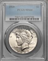 США 1 доллар 1926 г. S, PCGS MS64, 'Мирный доллар'