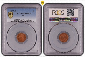 "Италия 1 чентезимо 1905 г., PCGS MS65 RD, ""Король Виктор Эммануил III (1900 - 1946)"""