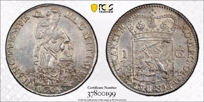 """Нидерланды (Оверэйсел) 1 гульден 1764 г., PSGS AU, """"Голландская Республика (1701 - 1794)"""""""