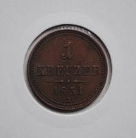 Австрия 1 крейцер 1851 г. А, 'Австрийская империя (1806 - 1857)'