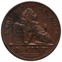 """Бельгия 10 сантимов 1832 г., AU, """"Король Леопольд I (1832 - 1865)"""""""