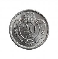 Австрия 20 геллеров 1911 г., UNC, 'Австро-венгерская крона (1892 - 1918)'