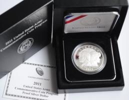"США 1 доллар 2011 г., PROOF, ""Армия США"""