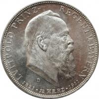 Бавария 5  марок 1911 г., UNC, '90 лет со дня рождения Луитпольда Баварского'