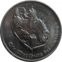 "ГДР 5 марок 1982 г., UNC, ""Замок Вартбург"""