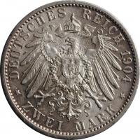 "Мекленбург-Шверин 2 марки 1904 г., XF, ""Свадьба Герцога Фридриха Франца IV"""