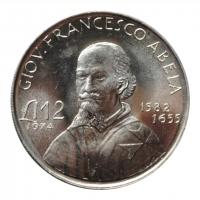 Мальта 2 лиры 1974 г., UNC, 'Джованни Франческо Абела'