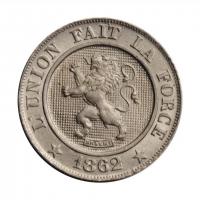 """Бельгия 10 сантимов 1862 г., UNC, """"Король Леопольд I (1832 - 1865)"""""""