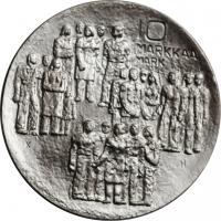"Финляндия 10 марок 1977 г., UNC, ""60 лет независимости"""