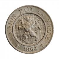 """Бельгия 10 сантимов 1863 г., BU, """"Король Леопольд I (1832 - 1865)"""""""