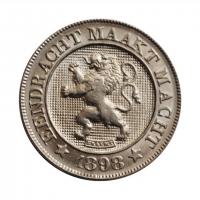 """Бельгия 10 сантимов 1898 г. DER, BU, """"Король Леопольд II (1865 - 1909)"""""""