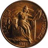 Португалия 1 эскудо 1924 г., BU, 'Португальская Республика (1911 - 1969)'