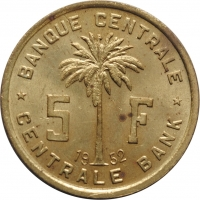 Руанда-Урунди  5 франков 1952 г., UNC, 'Подопечная территория ООН (1952 - 1960)'
