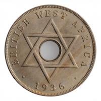 """Британская Западная Африка 1 пенни 1936 г. KN, BU, """"Король Эдуард VIII (01-12.1936)"""""""