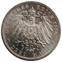 Баден 3 марки 1910 г., BU, 'Великий герцог Фридрих II (1907 - 1918)'