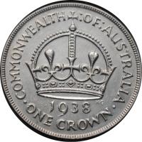 Австралия 1 крона 1938 г., XF, 'Король Георг VI (1937-1952)' РЕДКАЯ