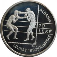 Албания 10 лек 1992 г., PROOF, 'XXV Летние Олимпийские игры, Барселона 1992'