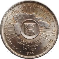 """Доминикана 1 песо 1974 г., UNC, """"XII Центрально-Американские и Карибские игры"""""""