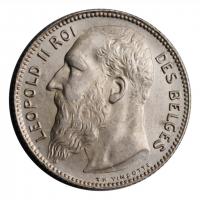 """Бельгия 1 франк 1909 г. DES, UNC, """"Король Леопольд II (1865 - 1909)"""""""