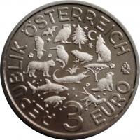 Австрия 3 евро 2017 г., BU, 'Животные со всего мира - Обыкновенный зимородок'