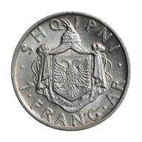 """Албания 1 франг 1937 г., AU, """"Король Зогу I (1928 - 1939)"""""""