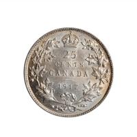 """Канада 25 центов 1917 г., UNC, """"Король Георг V (1911 - 1936)"""""""
