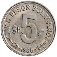 "Боливия 5 песо 1980 г., UNC, ""Республика Боливия (1964 - 1985)"""