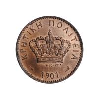 """Крит 2 лепты 1901 г., UNC, """"Критское государство (1898 - 1908)"""""""