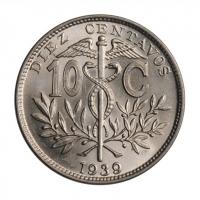 """Боливия 10 сентаво 1939 г., BU, """"Республика Боливия (1870 - 1963)"""""""