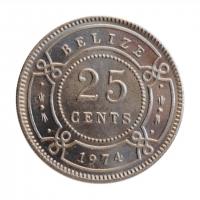 """Белиз 25 центов 1974 г., BU, """"Королева Елизавета II (1973 - 2016)"""""""