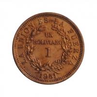 """Боливия 1 боливиано 1951 г. H, UNC, """"Республика Боливия (1870 - 1963)"""""""