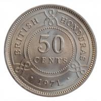 """Британский Гондурас 50 центов 1971 г., BU, """"Колония Великобритании (1885 - 1973)"""""""