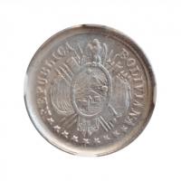 """Боливия 5 сентаво 1888 г. PTS FE, NGC MS63, """"Республика Боливия (1870 - 1963)"""""""