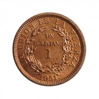 """Боливия 1 боливиано 1951 г., BU, """"Республика Боливия (1870 - 1963)"""""""