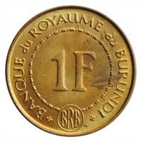 "Бурунди 1 франк 1965 г., BU, ""Король Мвамбутса IV (1915 - 1966)"""