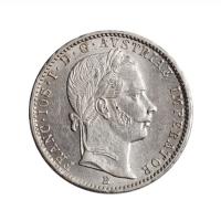 """Австрия 1/4 флорина 1859 г. B, UNC, """"Император Франц Иосиф I (1848 - 1916)"""""""
