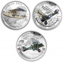 """Канада набор 20 долларов 2016 г., PROOF, """"Самолеты Первой мировой войны"""""""
