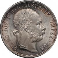 """Австрия 1 флорин 1875 г., UNC, """"Император Франц Иосиф (1848 - 1916)"""""""