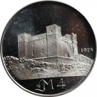 Мальта 4 лиры 1975 г., BU, 'Башня Святой Агаты'