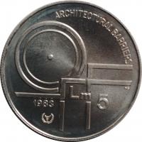 """Мальта 5 лир 1983 г., BU, """"Международный год инвалидов"""""""