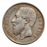 """Бельгия 1 франк 1886 г. DER, XF, """"Король Леопольд II (1865 - 1909)"""""""