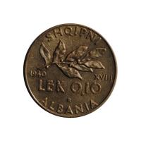 Албания 0.1 лек 1940 г., UNC, 'Итальянская оккупация (1939 - 1943)'
