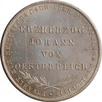 "Франкфурт 2 гульдена 1848 г., UNC, ""Избрание австрийского принца Йоханна викарием"""