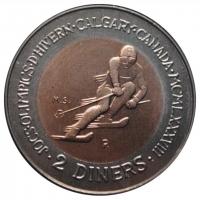 Андорра 2 динера 1985 г., UNC, 'XV зимние Олимпийские игры, Калгари 1988'