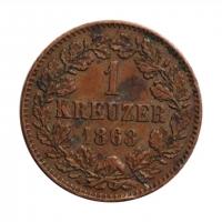 Баден 1 крейцер 1868 г. РЕДКАЯ