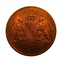 Баден 1 крейцер 1871 г., BU, 'Победа в войне с Францией'