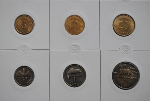Латвия набор монет 1992-1999 г., UNC