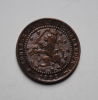 Нидерланды 1 цент 1882 г., РЕДКИЙ ГОД + СОСТОЯНИЕ