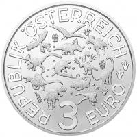 "Австрия 3 евро 2021 г., BU, ""Супер динозавры - Теризинозавр /Therizinosaurus/"""