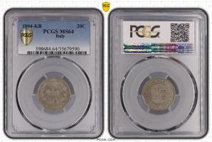 Италия 20 чентезимо 1894 г. KB, PCGS MS64, 'Король Умберто I (1878 - 1900)'